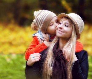 woman, child, hat, blonde, park
